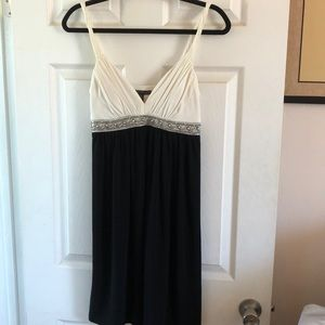 Beautiful Ivory and Black Evening Dress